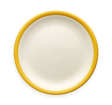 Empty ceramic plate with yellow pattern edge, White round plate with yellow rim, View from above isolated on white background with clipping path