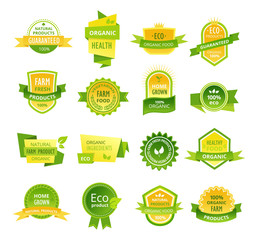 Set of colorful labels, stickers, stamps, badges, healthy organic food.