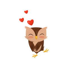 Sweet little owlet in love, cute bird cartoon character with red hearts vector Illustration on a white background