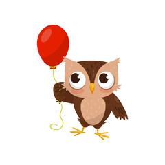 Lovely little owlet standing with red ballooon, cute bird cartoon character vector Illustration on a white background