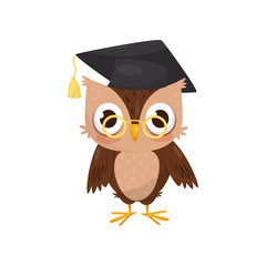 Lovely little owlet wearing graduation cap and glasses, cute bird cartoon character vector Illustration on a white background