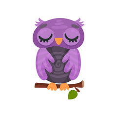 Cute purple owlet sleeping on a branch, sweet owl bird cartoon character vector Illustration on a white background