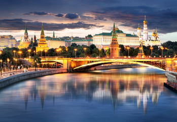 Moscow Kremlin at night, Russia with river