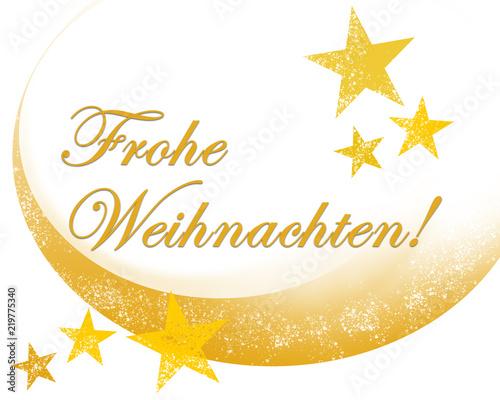 Frohe Weihnachten Gold.Frohe Weihnachten Schriftzug Gold Mit Sternen Stock Photo And