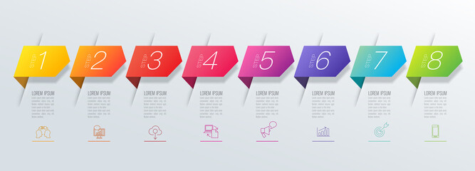 Infographics design vector and business icons with 8 options. Wall mural