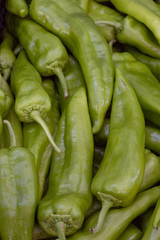 Green peppers at the market