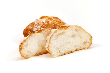 Freshly sliced baked bread