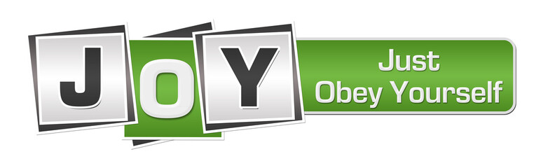 JOY - Just Obey Yourself Green Grey Squares Bar