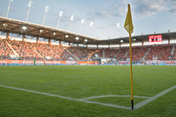 Flag in the corner of football pitch