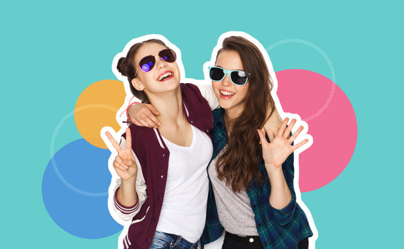 people, fashion and friendship concept -magazine style collage of happy teenage girls in casual clothes and sumglasses over colorful background
