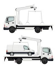 Evacuator car. Vector realistic cars, evacuators. Evacuate auto vehicle, evacuation automobile illustration