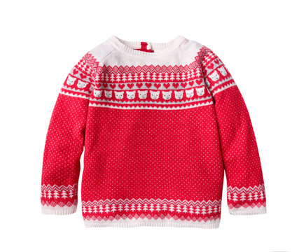 Red ornated child's christmas sweater isolated.