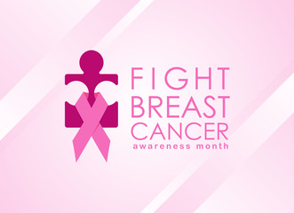 Breast cancer Awareness month banner with pink ribbon sign around pink woman jigsaw sign vector design