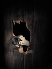 Zombie hand through hole cracked in rustic wood.Halloween theme