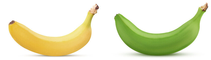 Yellow and green bananas