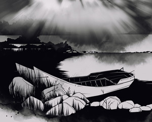 Digital drawing and watercolor texture. Cloudy sky, river, high grass and two boats. Landscape in mixed media