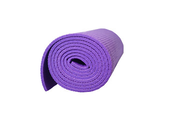 violet yoga mat on a white background