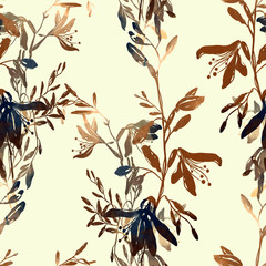 imprints abstract dark meadow herbs and flowers mix repeat seamless pattern. digital hand drawn picture with watercolour