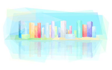 Colorful modern city, skyscrapers, vector illustration