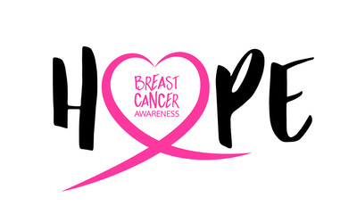Hope lettering design with Pink heart line. Breast cancer awareness concept. Vector illustration isolated on white background.
