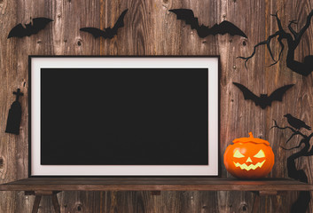 Halloween poster mock up in living room - decorations and pumpkins , jack-o-lantern. 3D render