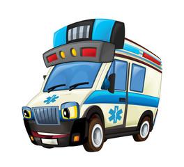 cartoon scene with happy ambulance truck on white background - illustration for children