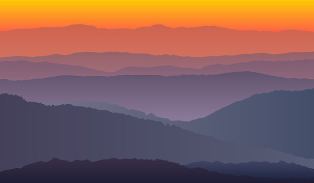 landscape with purple orange silhouettes of mountains vector eps 10
