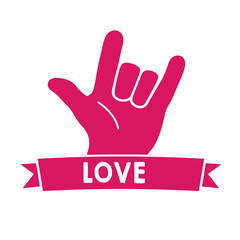 Love Sign Language Pink