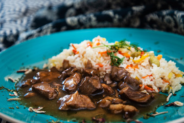 caramel pork with rice and vegetable