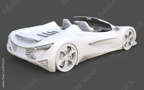 White Plastic Conceptual Model Of A Sports Car Convertible On A Gray
