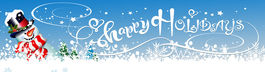 Christmas card, text Happy Holidays and Snwman