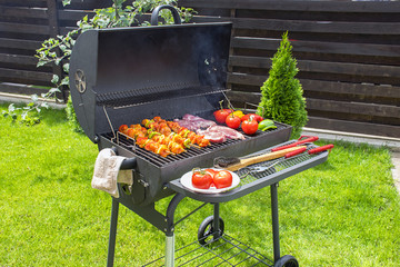 Beef and Vegetable on a Outdoor BBQ