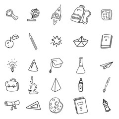 Set icons hand drawing line doodle school items . Back to School. Vector illustration. Isolated