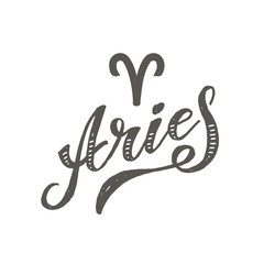 Aries lettering Calligraphy Brush Text horoscope Zodiac sign