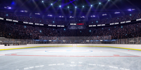 Sport hockey stadium 3d render whith people fans