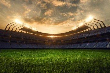 3d render emptry stadium evening