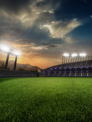 stadium sunset  with people fans. 3d render illustration cloudy