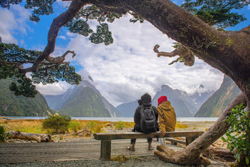 the scenery view of landscape of Milford Sound, the most popular and famous place for tourist and traveling in South New Zealand