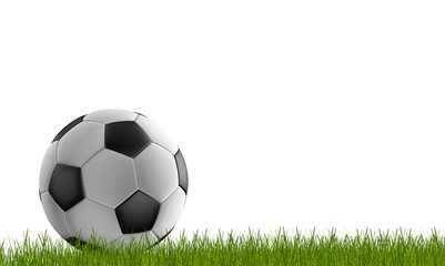 soccer ball with green lawn 3d-illustration isolated