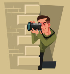 Journalist photographer paparazzi man character hiding and trying take photo picture of celebrity. Yellow press vector cartoon illustration
