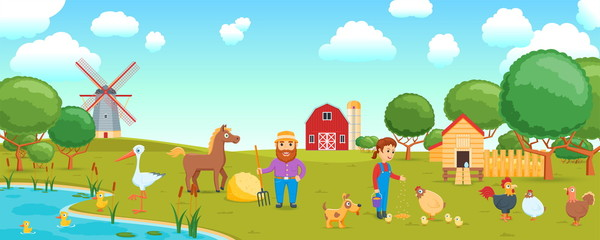 Cartoon banner on a agricultural theme. Rural scene with people and poultry. Poultry yard. Vector illustration