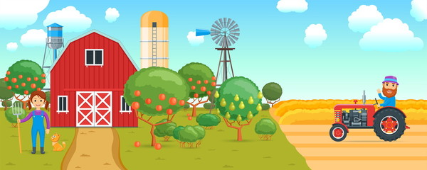 Cartoon banner on a agricultural theme. Rural scene with people and fruit trees. A man riding a tractor in the background of a wheat field. Vector illustration