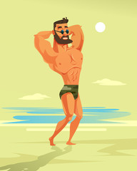 Strong athletic man character posing on beach. Travel summer resort vacation concept vector cartoon illustration