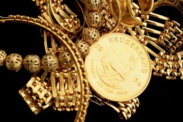 Gold jewelry with gold coin
