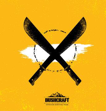 Adventure Mountain Survival Gear Hike Creative Motivation Concept. Extreme Outdoor Design Vector