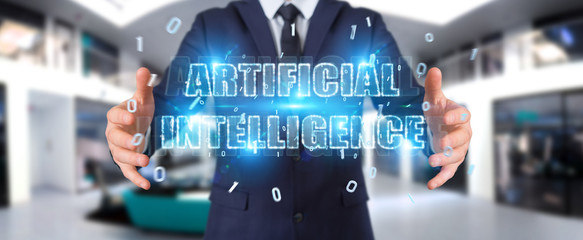 Businessman using digital artificial intelligence text hologram 3D rendering