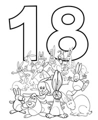 number eighteen and funny rabbits group