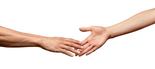 Hands reaching out and touching each other