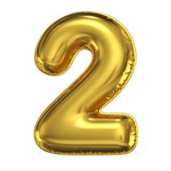 Fototapeta Golden balloon font 3d rendering, number 2 obraz