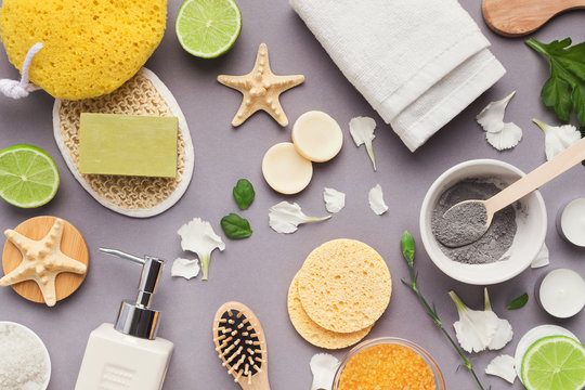 Various spa and beauty threatment products on background